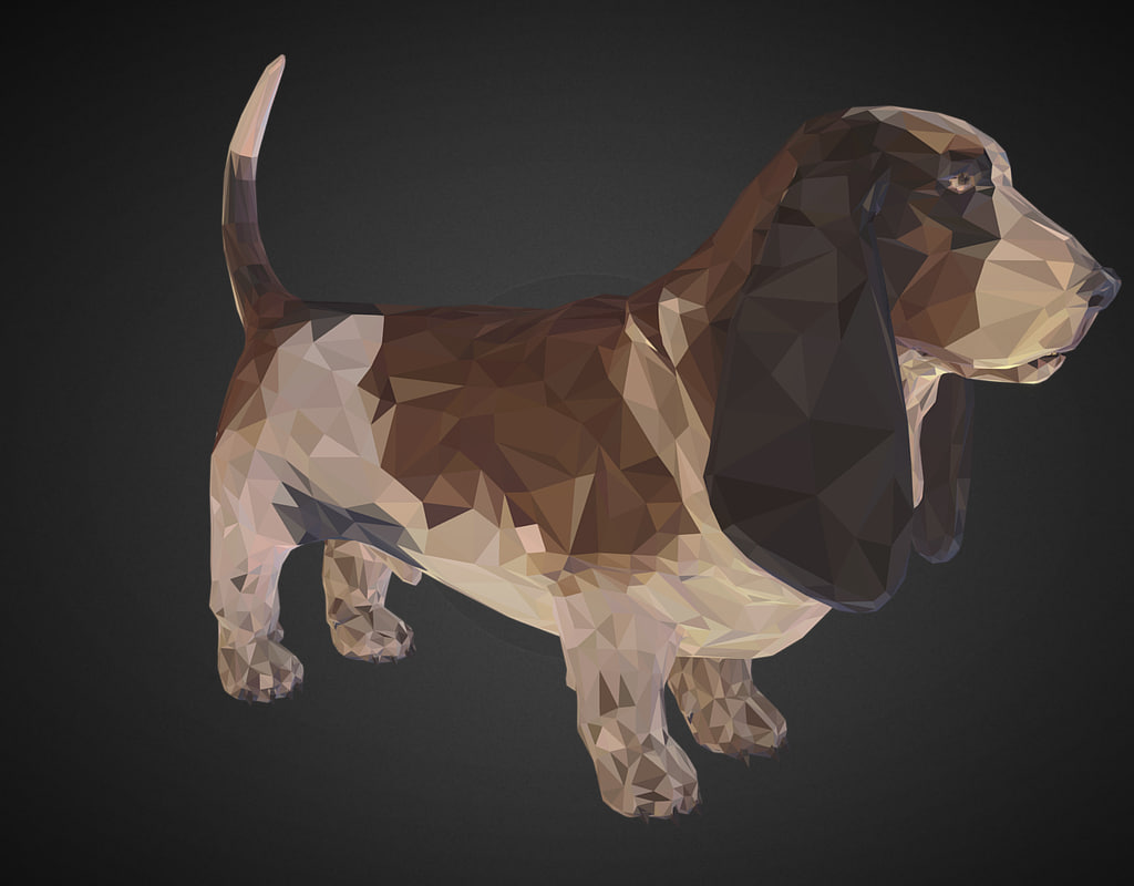 3D dog basset hound art
