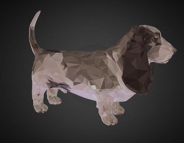 3D dog basset hound art