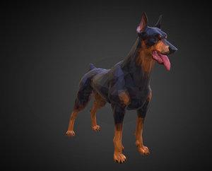 doberman black art animal 3D model