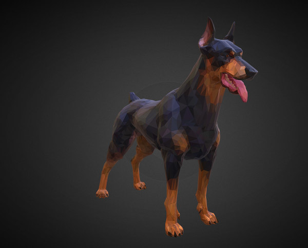 doberman black art animal 3D model