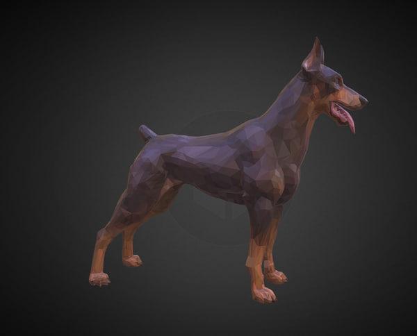 doberman brown art animal 3D model
