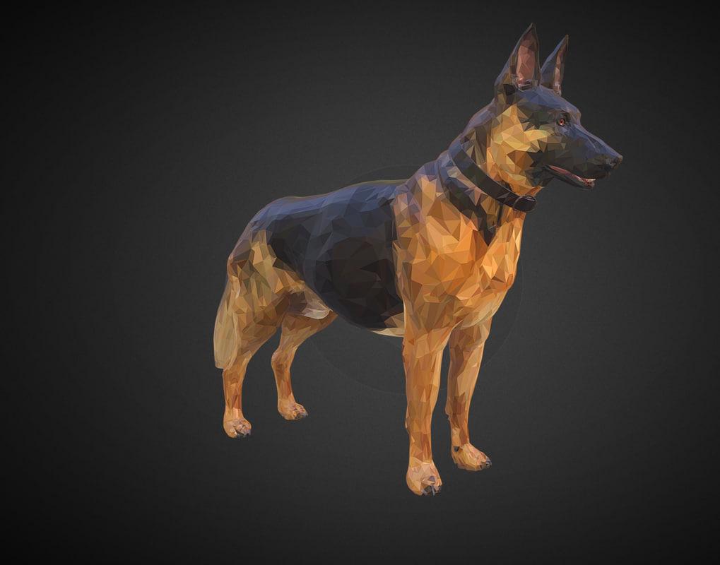 3D shepherd german art dog animal