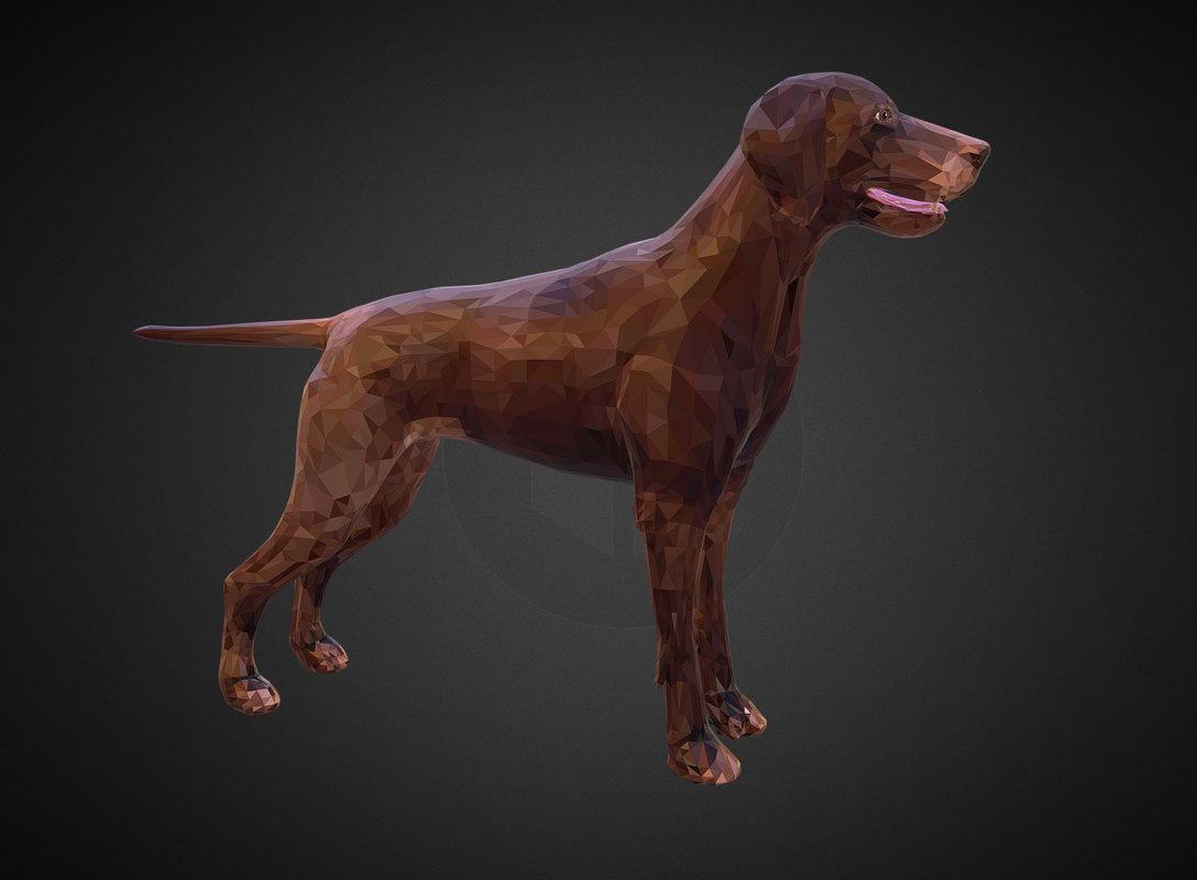 3D model dog kurtshaar brown art