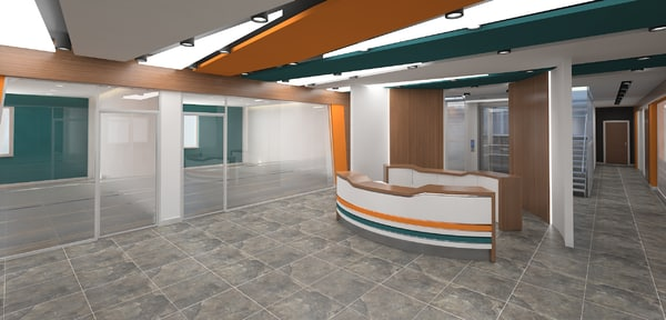 3D modern lobby office elavator
