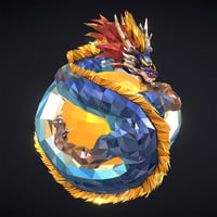 3D blue dragon art low-poly model