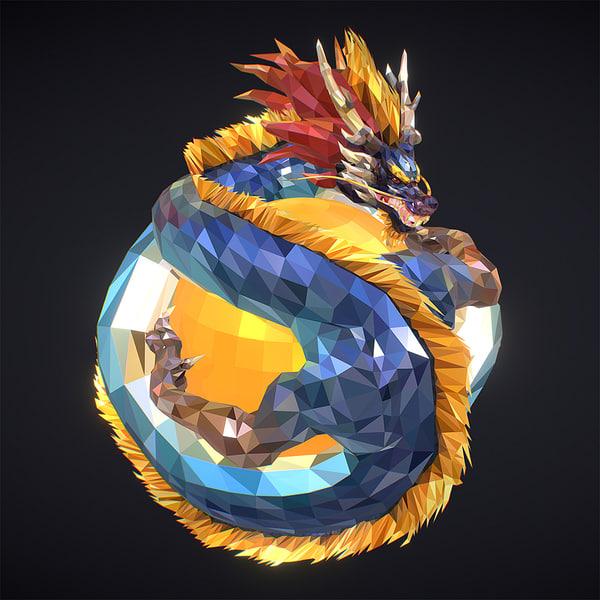3D blue dragon art low-poly model