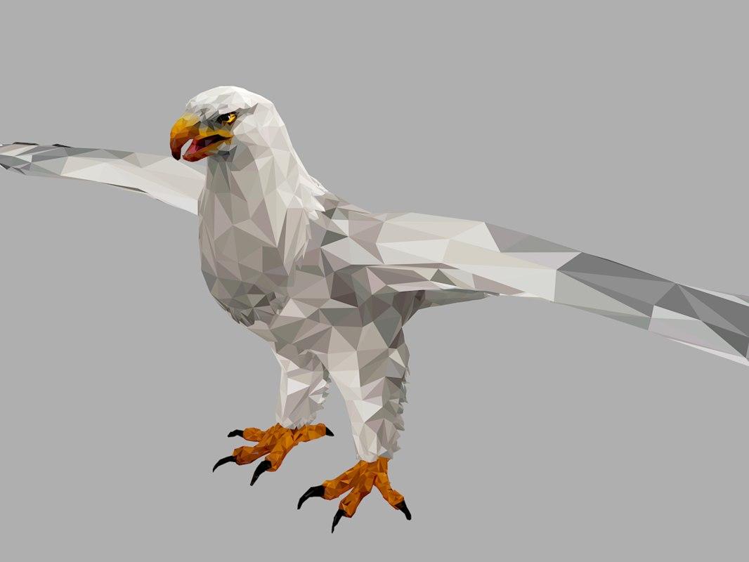 white eagle art bird 3D model