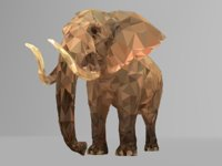 Elephant Low Polygon Art African Animal VR / AR / low-poly 3D model
