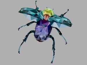 3D firefly rhinoceros beetle art model
