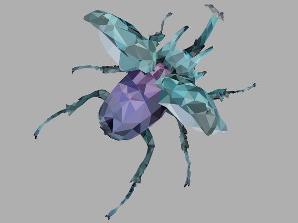 chafer firefly beetle art 3D model