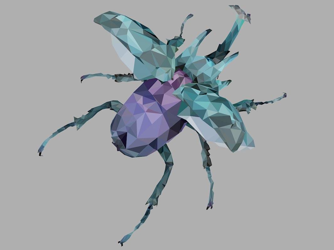 chafer firefly beetle art 3D model