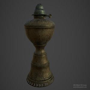 3D model old metal oil lamp