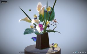 bouquet callas irises art model