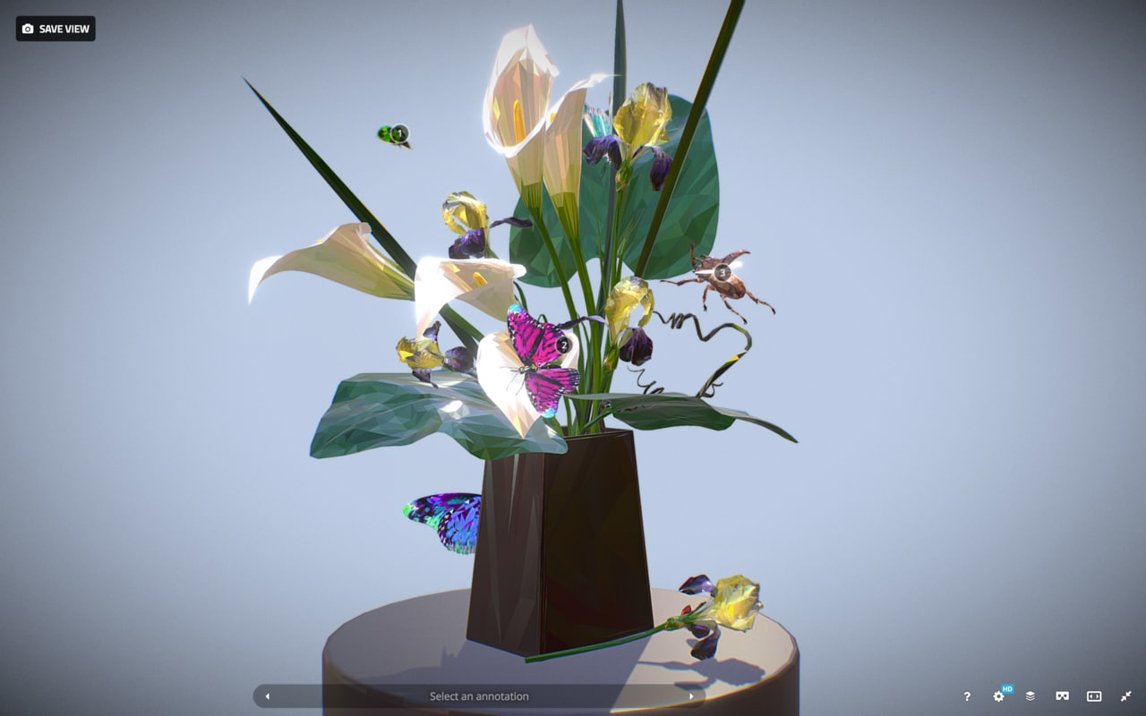 bouquet callas irises art model
