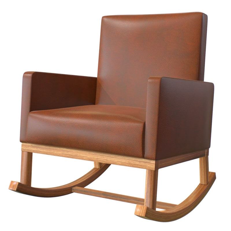 3D rocking chair leather