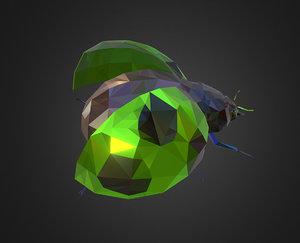 green bug ladybug art 3D model