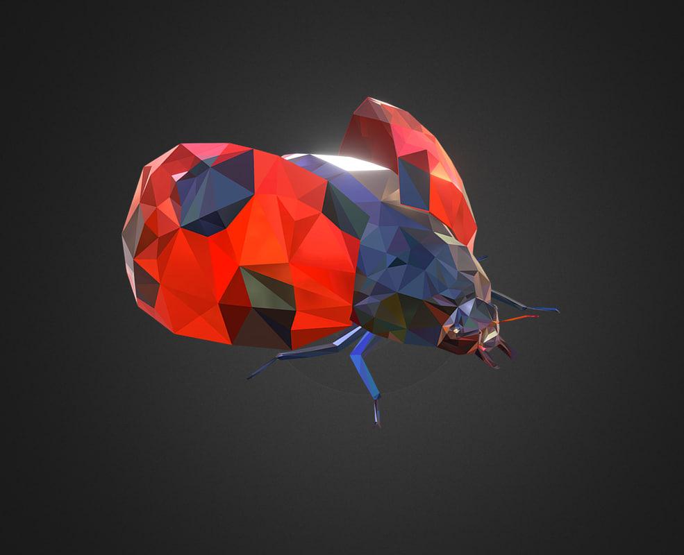 3D bug ladybug red art