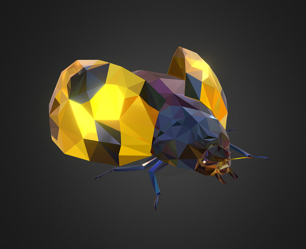 bug ladybug yellow art 3D model