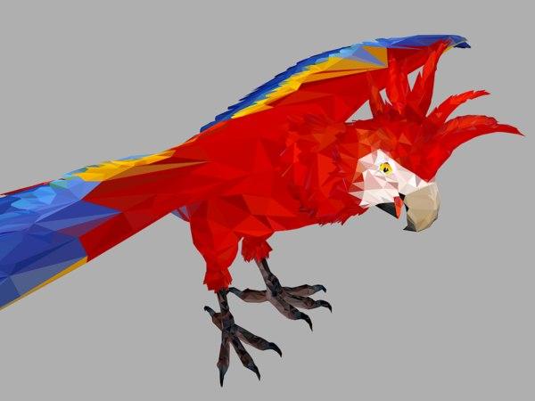 3D red parrot art bird model