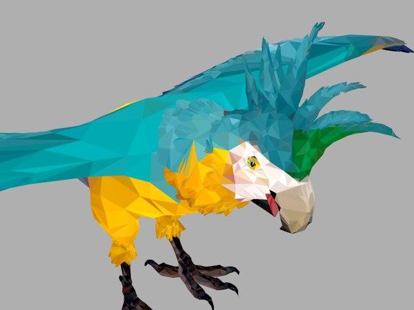 3D blue parrot art bird