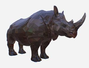 3D rhino art animal low-poly