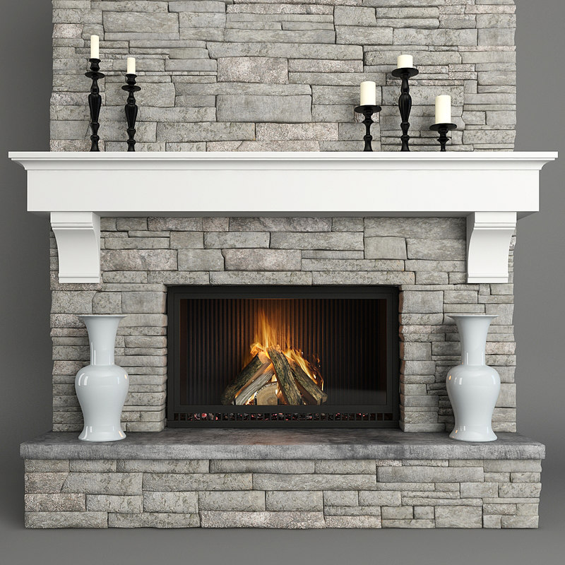 fireplace stone 3D model