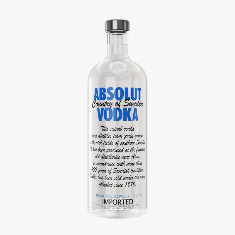 absolut vodka bottle model