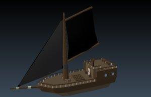 3D pirate boat model