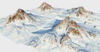 3D snow mountains