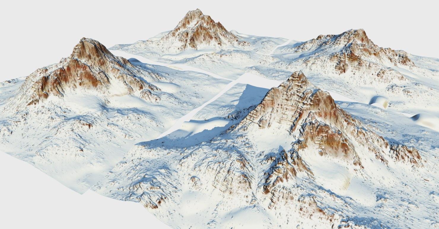 3D snow mountains