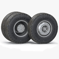 3D truck wheels tires