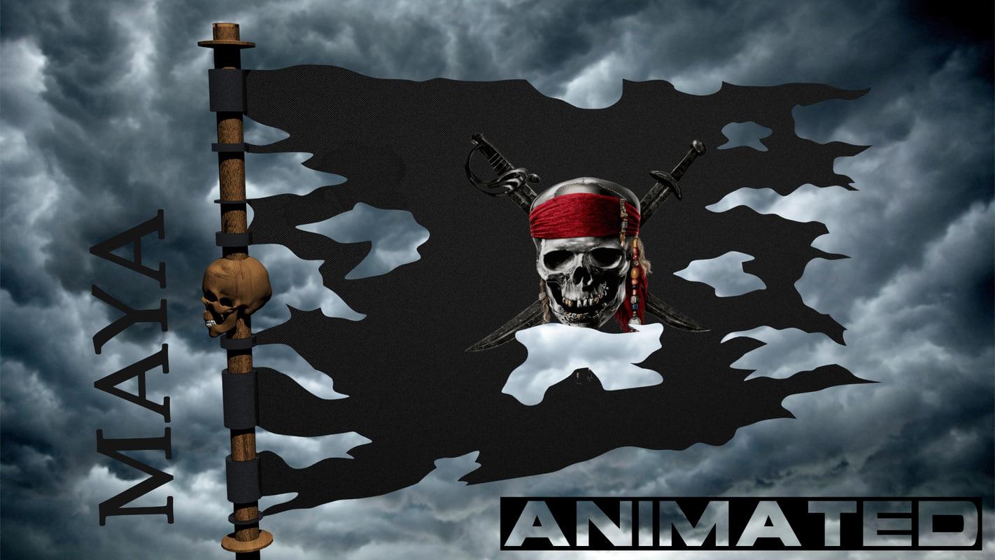 3D pirate flag