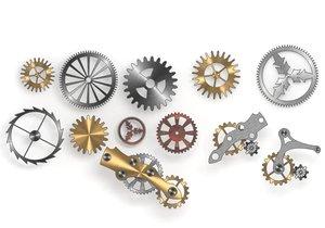 3D model 10 cogwheels mechanisms
