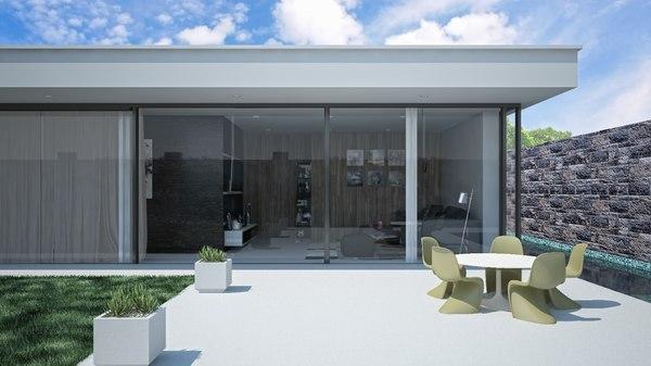 glass luxury villa model