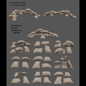 3D sandbag sand bag model