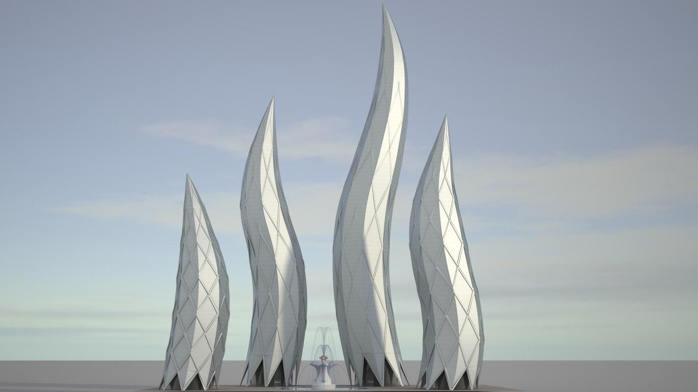realistic dubai towers 3D model