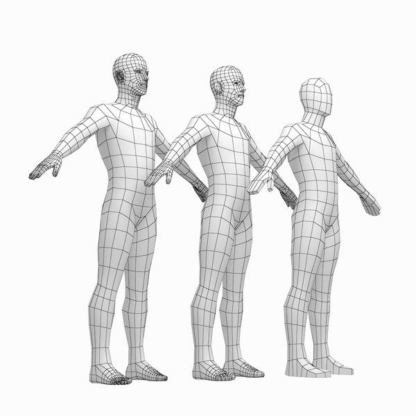 3D mesh male body a-pose model