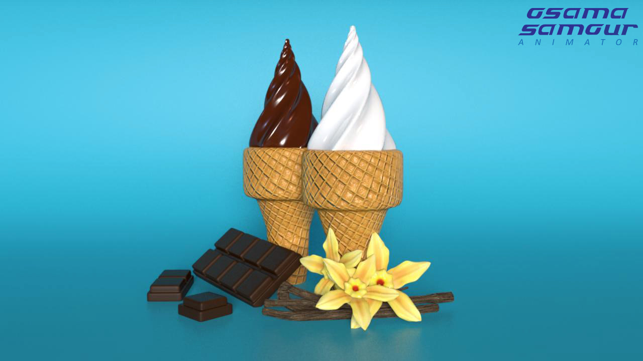 3D ice cream cones flavors