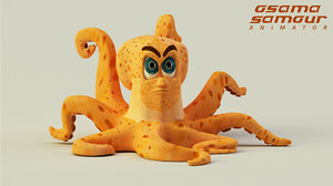 3D octopus cartoonist character model