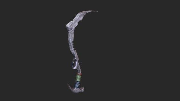 3D machete weapon zbrush model