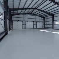 3D hangar world scene model