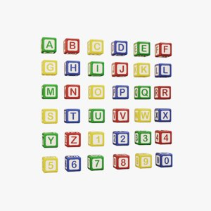 alphabet colored cubes - 3D model