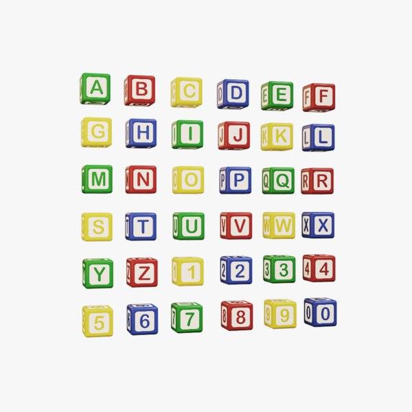 alphabet colored cubes - 3D model