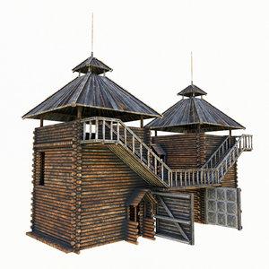 3D castle wooden gates modeled model