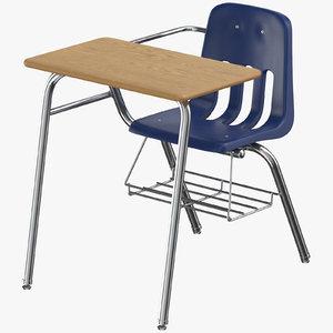 student desk 02 3D model