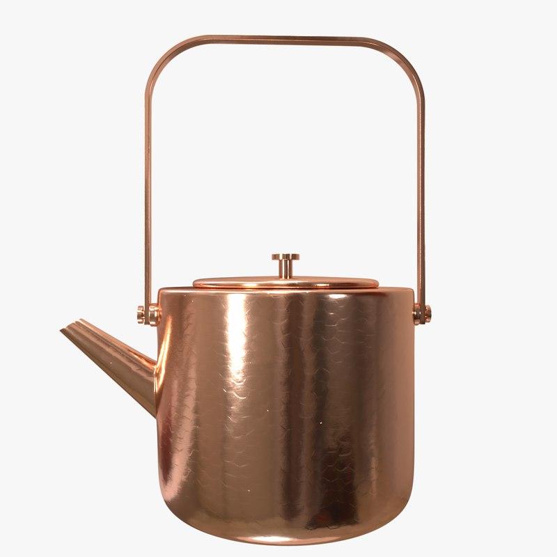 stainless copper tea kettle 3D model
