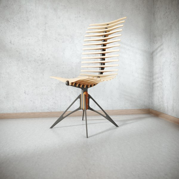 3D wooden skeleton chair model