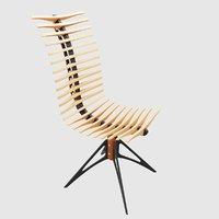 3D wooden skeleton chair model