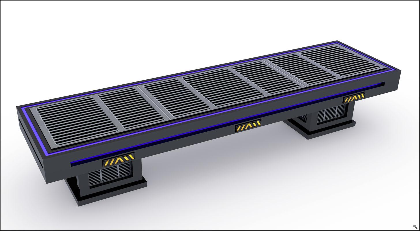 bench sci-fi 3D model