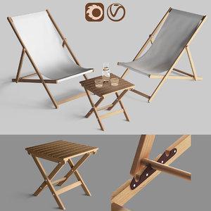 3D garden furniture chaise longue model